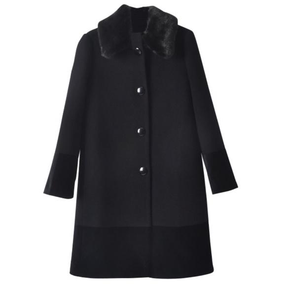 KATE SPADE • Fur Collar Velvet Trim Coat